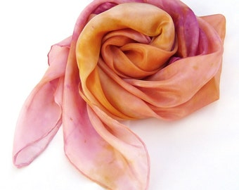 Pink orange silk scarf, fashion silk scarf, hand paint scarf, square silk scarf, ombre, luxury, feminine, gift for women