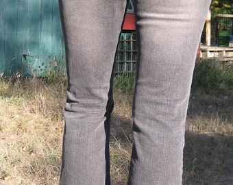Womens Black Upcycled Jeans Size 10 w/ Vintage Sari Trim