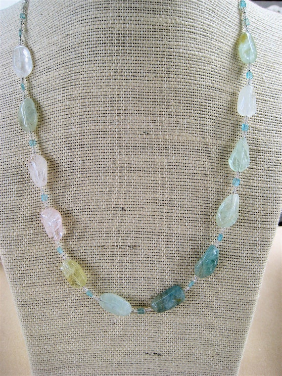 Aquamarine and Morganite Necklace Blue Green Pink Nuggets with Silver Lined Seed Beads Gemstone Jewelry