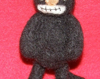 Little Black Cat Prim Style Decoration in Needle Felted Wool