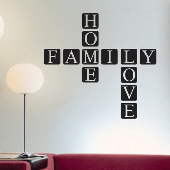 Scrabble Tile Decal, Vinyl Wall Lettering, Vinyl Wall Decals, Vinyl Letters, Vinyl Lettering, Wall Quotes, Home Family Love Decal
