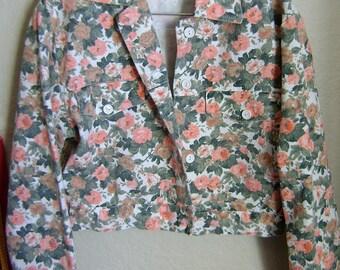 SALE Vintage 1990s 90s Floral Denim Jean Cropped Jacket