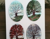 Set of 4 Seasonal Trees from The Hidden Path Oracle Wall Hangings, Oval Tiles by Mickie Mueller