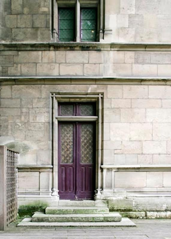 Paris Door in plum purple, Paris Photography, Moss Green, Gray, Neutral architectural, Fall colors - Raceytay