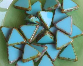 Aqua Czech Triangle Beads - Czech Glass Beads - Jewelry making Supply - Top Drilled Picasso Edged Triangle - Deep Sea Aqua (24 pieces)