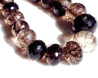 Crystal Necklace Smoky Quartz Big Chunky beaded choker Goddess Jewelry