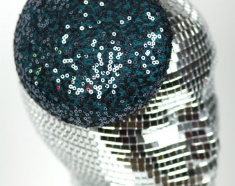 Sequin Pill Box Cocktail Hat, Wedding Hat, Various Colours- Black FRiday Cyber Monday