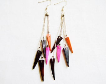 Long Statement Earrings, Boho Spike Earrings, Tropical Summer Coconut Earrings, Shoulder Dusters