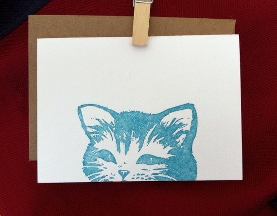 Teal Blue Happy Cat // Letterpress Card