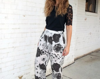 Ophelia Drowns in Black and White Silk Pants