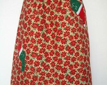 Christmas Cat Skirt / Poinsettias /Cat Appliques  - Waist 26 to 35