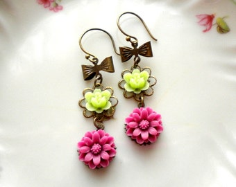 Flower Earrings Chandelier Earrings Dangle Purple Earrings Cabochon Earrings Dangle Bow Earrings Romantic Floral Earrings