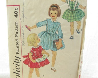 Simplicity 3132 Toddler Full Skirt 1950s Dress Sewing Pattern Size 2