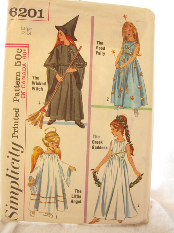 Simplicity 6201 Girls Witch Fairy and Angel Costumes Vintage Sewing Pattern Bust 32