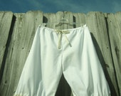 White Knee Length Bloomers with white lace and light tan ruffles