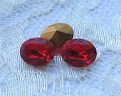10x8 Swarovski Light Siam Red Oval Rhinestone Pointed Back