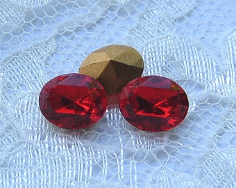 LOW STOCK 10x8 Swarovski Light Siam Red Oval Rhinestone