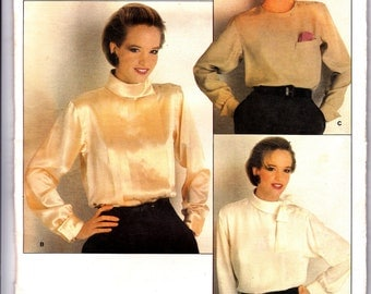 80s Calvin Klein Womens Blouse pattern Vogue American Designer 1230 Vintage Sewing Pattern Bust 34 UNCUT FF