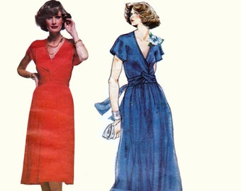 70s CHRISTIAN AUJARD Wrap Dress Boho Maxi Dress Twist Bodice Plunging Neckline Vogue French Boutique 1502 Vintage Pattern Bust 36 inches