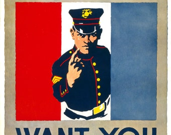 "New Vintage WWI Reproduction Poster-Marines ""We Want You"" 12x16"