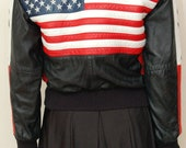 Vintage Leather USA Flag Jacket- Size small