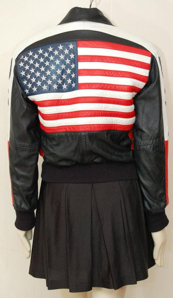 Vintage Leather USA Flag Jacket- Size small
