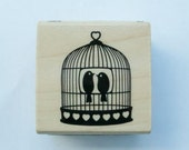 Hanging Birdcage Rubber Stamp with birds