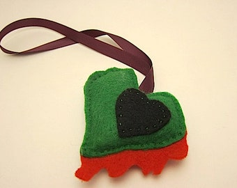 Zombie heart christmas ornament handmade stuffed bloody heart