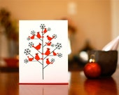 Cardinals in Snowy Tree - Set of 10 Modern Holiday Cards on 100% Recycled Paper