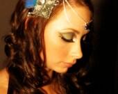 BLUE MORPHO Butterfly Headpiece/ Belly Dance Headband Real Cruelty Free Butterfly/ 019b