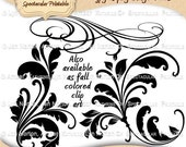INSTANT DOWNLOAD Digital Flourishes Calligraphy Swirls Swashes Floral Pen Flourishes Wedding Invitation Embellishments Digital Stamps DS9023