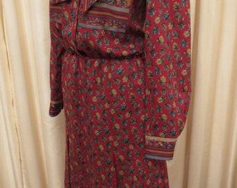 Vintage Wool 80s Long Sleeve Winter Hippie Dress