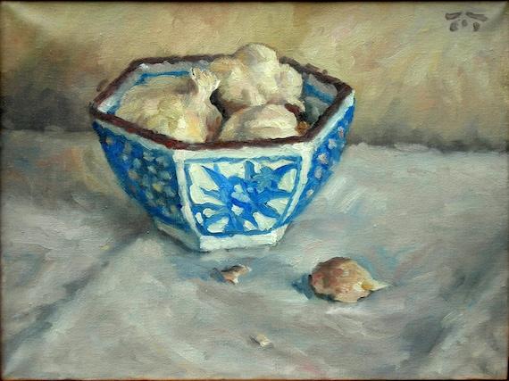 Still Life, Little Garlic Bowl. Original Oil on Linen Canvas, Realist Still Life Painting