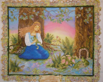 """Art Quilt Wall Hanging Little Girls Decor Hand Painted """"Proceed with Caution"""" Frog Prince Free Shipping Quiltsy Handmade"""
