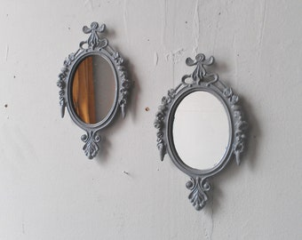 Gray Wall Decor Small Mirror Set, Pastel Goth, Gray Nursery, Small Oval Mirrors, Ornate Vintage Frames, Gifts For Friends