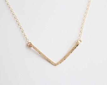 V Necklace - Hammered - Hand Forged - 14k Gold Filled or Sterling Silver