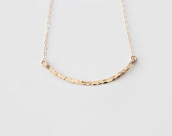 14k Gold Filled Curved Bar Necklace - Hammered - Hand Forged