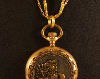 Neptune or Poseidon Antique Button Necklace with Pocket Gold Filled Watch Case