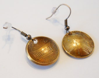 Domed PENNY Earrings: Lucky Jewelry, Coin Earrings, 1st 7th Anniversary for Her, Graduation, Birthday, Important Dates, 1959-2018, Gift Box