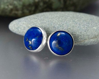 Blue Lapis Studs in Sterling Silver - 8mm Stone Studs