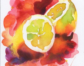 Lemons Watercolor Painting Signed Fine Art Giclee Print