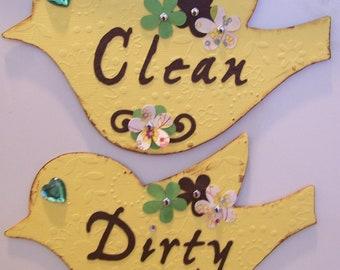 Clean Dirty Dishwasher Magnet Yellow Bird