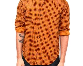 vintage SURF long sleeve 90s faded orange and black PLAID grunge men's shirt