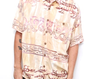 versace style surf TROPICAL beach print 90s HAWAIIAN short sleeve button up shirt