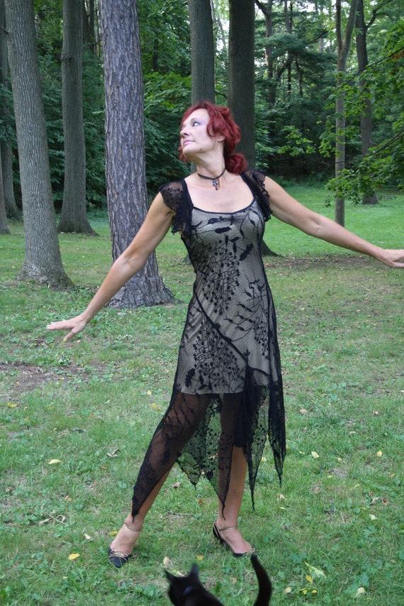 vintage black lace dress / gothic goth / tango dance / vampire holiday
