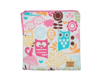 Sandwich Size Reusable Bag - Owls and Flowers