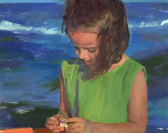 little beach girl original oil painting - 16x20 - Sophies Seashell