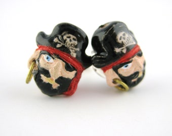Pirate Earrings - Pirate Jewelry - Painted Jewelry - Adult Girl Pirate Costume For Women Men - Sterling Pirate Stud Post -Mens Stud Earrings
