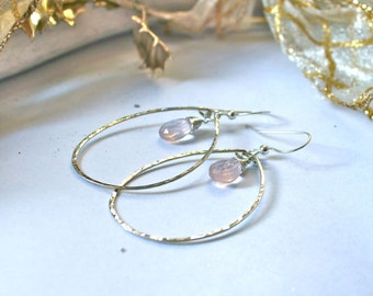 Pink Glow Hoops - Rose Quartz and Sterling Silver, 14K Gold Filled or Rose Gold Filled Hoop Earrings