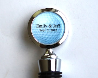 Golf Wedding Favors, Golf Party Favors, Unique Wedding Gift  - Custom Wine Stopper with bride and groom custom wedding date